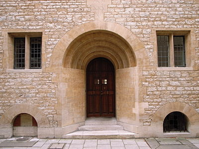 The doorway of Campion Hall, one of the Permanent Private Halls of the University, run by the Society of Jesus.  The buildings were designed in the 1930s by the architect Edwin Lutyens.