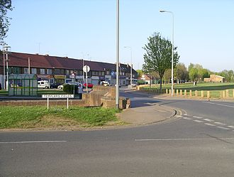 Canley - Shops on Prior Deram Walk and the playing field, Canley.