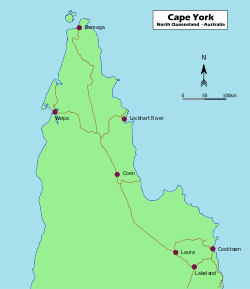 Map of Cape York Peninsula, Far North Queensland, Australia