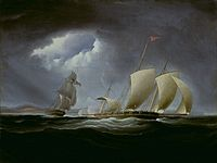 USS Enterprise pursuing Tripoli, by Thomas Birch. CaptureoftheTripolibytheEnterprise.jpg