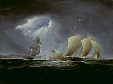 The Tripolitan polacca Tripoli attempts to flee the pursuing American schooner USS Enterprise with a beam of light striking down upon the two vessels in an otherwise dark and stormy sea.
