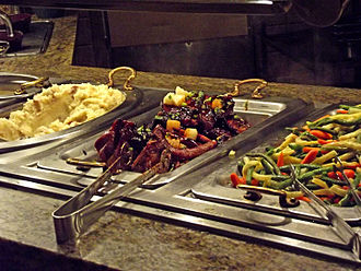 Foods at a buffet. National Buffet Week begins on January 2 each year in the United States. Carnival World Buffet, The Rio, Las Vegas Nevada 5.jpg