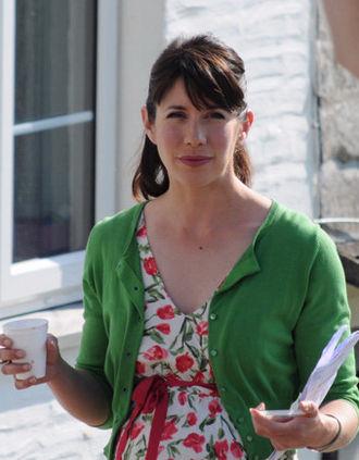 Caroline Catz - Catz on the set of Doc Martin in 2009