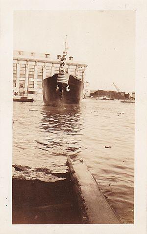 MS Carolinian - M/S Carolinian going down the slipway. Z.P. Liollio Collection.