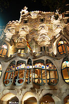 The Casa Batlló, already built in 1877, was remodeled in the locally Barcelona manifestation of Art Nouveau, modernisme, by Antoni Gaudí and Josep Maria Jujol in 1904–1906