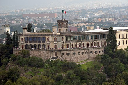 Chapultepec Castle built between 1785-1864. It was built at the time of the Viceroyalty as a summer house for the Viceroy, it was also the official residence of Emperor Maximilian I of Mexico (1864-1867) and the presidents of the country between 1884 and 1935. Castillo de Chapultepec (Museo Nacional de Historia).JPG