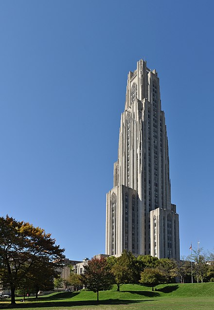 The Cathedral of Learning, the centerpiece of Pitt's campus and the tallest educational building in the Western Hemisphere Cathedral of Learning stitch 1.jpg