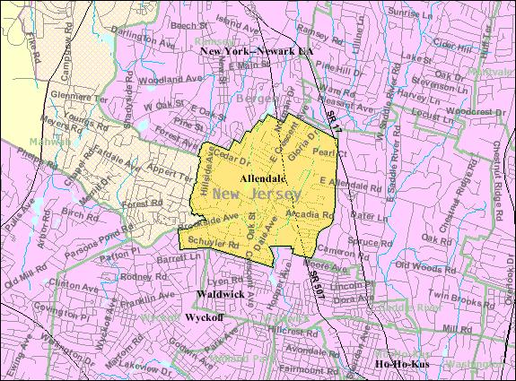 Census Bureau map of Allendale, New Jersey