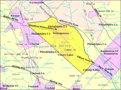 Census Bureau map of Monroe Township, Gloucester County, New Jersey