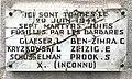 Centre d'histoire de la résistance et de la déportation (Lyon) - plaque hommage Exécution des sept Juifs au cimetière de Rillieux - vandalisée en mai 1994.JPG