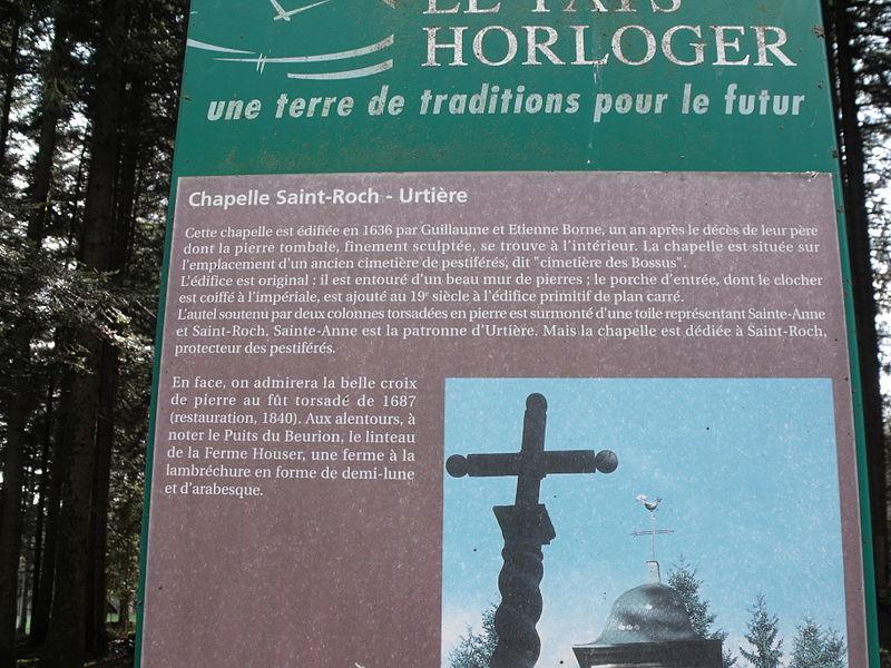Panneau explicatif de la chapelle Saint-Roch d'Urtière, Doubs, France