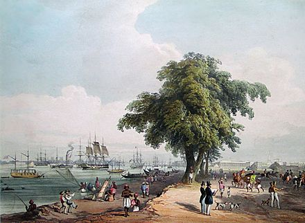 View of the Calcutta port in 1848 Charles D'Oyly00.jpg