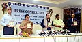 Chaudhary Birender Singh along with the Union Minister for Tribal Affairs, Shri Jual Oram releasing the booklet, at a press conference on the achievements of the Ministry of Steel, during the last four years, in Rourkela.JPG