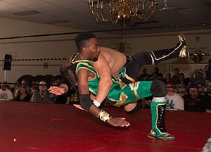 """Cheeseburger (wrestler) - Cheeseburger executing a DDT on Ethan Page at Alpha-1 Wrestling's """"The Purge"""" show in Hamilton, ON"""