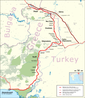 French-Hellenic Railway Company - Map of the line operated by the former French-Hellenic Railway Company as of 2015