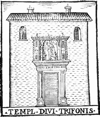 San Trifone in Posterula - The chiesetta of San Trifone, depicted in a woodcut by G. Francino (1588)