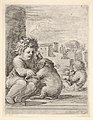 Child teaching a dog to sit, the child seated to left against a wall, teaching the dog to sit on its hind legs, another child embracing a dog to right in the background MET DP833215.jpg
