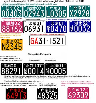 Vehicle registration plates of China - Layout and examples of 1986-series plates.