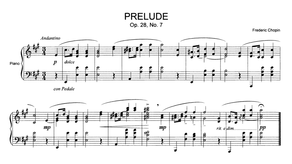 An example of modern musical notation: Prelude, Op. 28, No. 7, by Frederic Chopin Play (help*info) Chopin Prelude 7.png