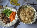 Chopped capsicum, mushroom, meat and carrot in a plate along with a bawl of rice noodles.jpg