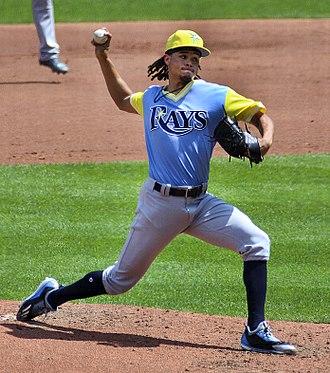 Chris Archer - Archer wearing special Little League uniform in St.Louis, 8-27-17.