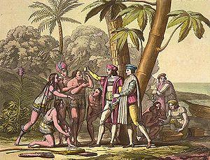 Colón toma posesión del Nuevo Mundo.