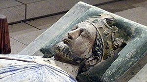 Baldwin of Forde - Baldwin crowned Richard I, perhaps better known as Richard the Lionheart, in 1189.  This effigy is from Fontevraud Abbey, Anjou, France and was created shortly after Richard's death in 1199.