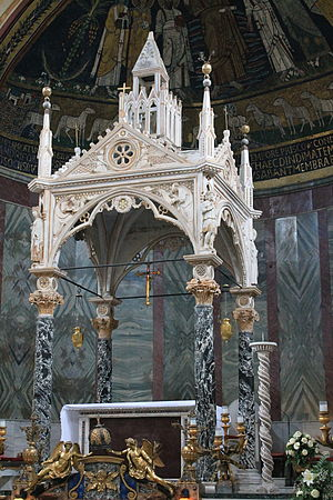Santa Cecilia in Trastevere - Ciborium attributed to Arnolfo di Cambio.
