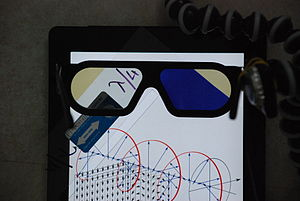 Polarized 3D system - Circularly polarized 3D glasses in front of an LCD tablet with a quarter-wave retarder on top of it; the λ/4 plate at 45° produces a definite handedness, which is transmitted by the left filter but blocked by the right filter.