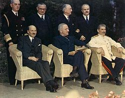 Clement Attlee, Harry S. Truman, Joseph Stalin and their principal advisors - Potsdam Conference 1945.jpg