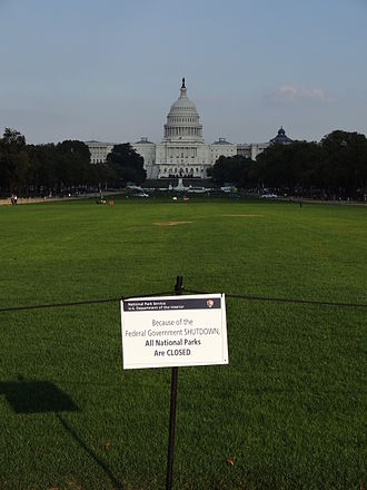Government shutdown in the United States - Units of the National Park System are closed during a federal government shutdown. Shown here is the National Mall closed during the 2013 shutdown.