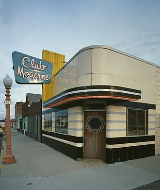 Moderne architecture - Club Moderne, Anaconda, Montana. Designed by Fred F. Willson, 1937.