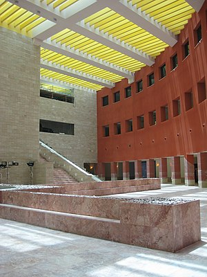 The atrium of Carnegie Mellon University in Qa...