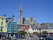 Cobh Cathedral, Ireland, rises up above the town.