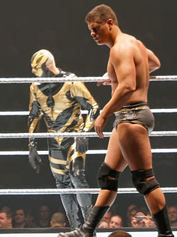 A Caucasian male adult wearing various wrestling gears walking in the side of a wrestling ring, while inside is his male adult partner with gold and black face paint and attire.