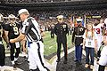 Coin toss at Saints Military Appreciation Game 2009-11-02 2.JPG