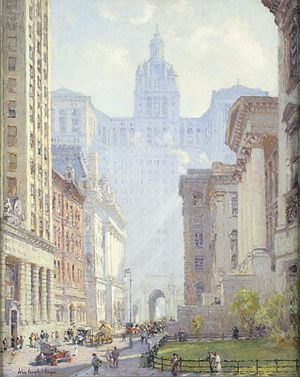 Manhattan Municipal Building - Chambers Street and the Municipal Building by Colin Campbell Cooper, c. 1922