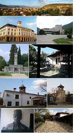 Top: Panorama view of Sliven, 2nd left: Sliven City Hall, 2nd right: Stefan Kirov Drama Theater, 3rd left: Monument of Hadji Dimitar, 3rd right: Hadji Dimitar House Museum, 4th left: Saint Dimitar Cathedral, 4th right: Clock Tower, Bottom left: A bust chieftain of Hadji Dimitar in Dimitar House Museum, Bottom right: Slivenski Bit Museum