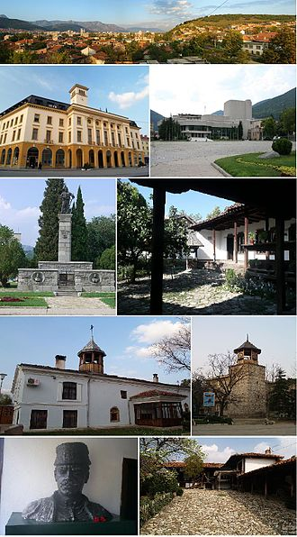 Sliven - Top:Panorama view of Sliven, 2nd left:Sliven City Hall, 2nd right:Stefan Kirov Drama Theater, 3rd left:Monument of Hadji Dimitar, 3rd right:Hadji Dimitar House Museum, 4th left:Saint Dimitar Cathedral, 4th right:Clock Tower, Bottom left:A bust chieftain of Hadji Dimitar in Dimitar House Museum, Bottom right:Slivenski Bit Museum
