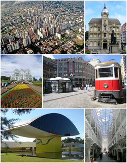 Clockwise from Top: Skyline from Barigui Park; 24 Hours Street; Paço da Liberdade; The Botanical Garden of Curitiba, Oscar Niemeyer Museum; Palace Avenue building.
