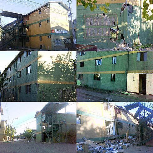 A collage of pictures showing the damage to the Paniahue apartment buildings. Image: Diego Grez.
