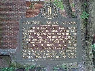 Silas Adams - Historical marker to Adams in Liberty, Kentucky