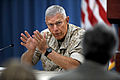Commandant of the Marine Corps Gen. James T. Conway holds a press briefing to discuss his just-completed trip through U.S. Central Command's area of responsibility in the Pentagon on Aug. 24, 2010 100824-D-WQ296-081.jpg