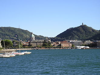 Como - View from Lake Como. The tower which tops the hill on the right is the Castello Baradello.