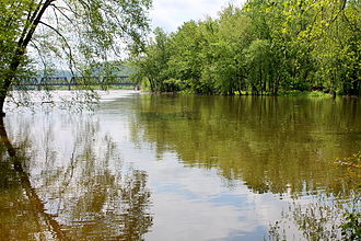 Fishing Creek (North Branch Susquehanna River) - The mouth of Fishing Creek as seen from the Bloomsburg side