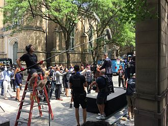 Conviction (2016 TV series) - Conviction shooting in Bell Trinity Square, Toronto, July 2016.