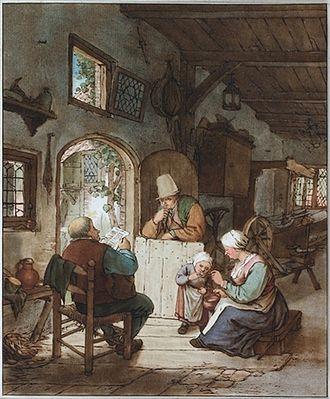 Cornelis Ploos van Amstel - Etching by Ploos van Amstel, with colored pencil after Adriaen van Ostade, ca. 1765-1782, collection Teylers Museum