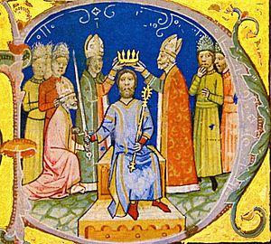 Andrew I of Hungary - Coronation of Andrew I (Illuminated Chronicle)