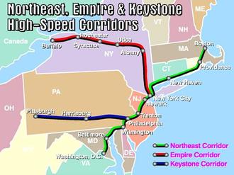 Empire Corridor - Empire Corridor (red) as designated by the Federal Railroad Administration