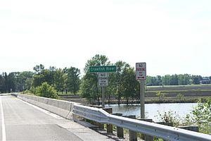 Crawfish River - Highway sign near Hubbleton, Wisconsin
